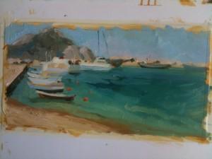 Boats in Aegiali bay.