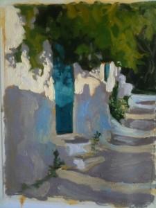 Sun on the door to Alain's house, Langada