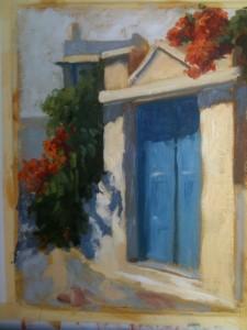 Blue Door and Trumpet Vines, Katapola